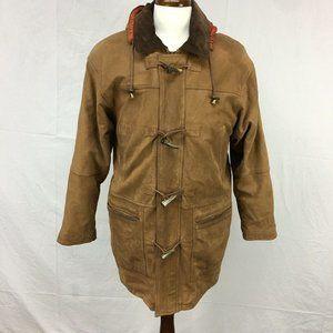 Burberry Brown Du Pont Leather Duffle Jacket